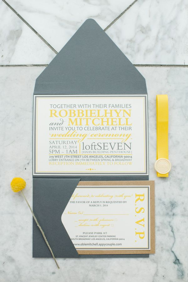 grey and yellow wedding invitations, photo by Jenna Bechtholt http://ruffledblog.com/los-angeles-rooftop-wedding #weddinginvitation #stationery