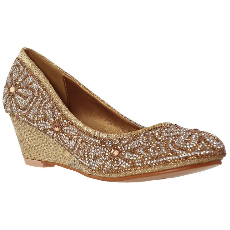 Womens Dress Shoes Slip On Wedge Pumps Floral Print Rhinestone Shoes Gold