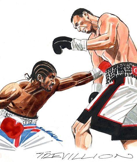 Paul Trevillion drawing of the David Haye Wladimir Klitschko fight...