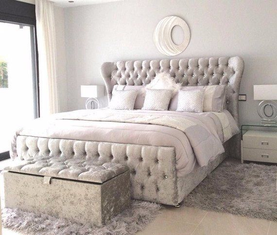 Curved Wingback Crushed Plush Velvet Bed Double Bed Kingsize Bed