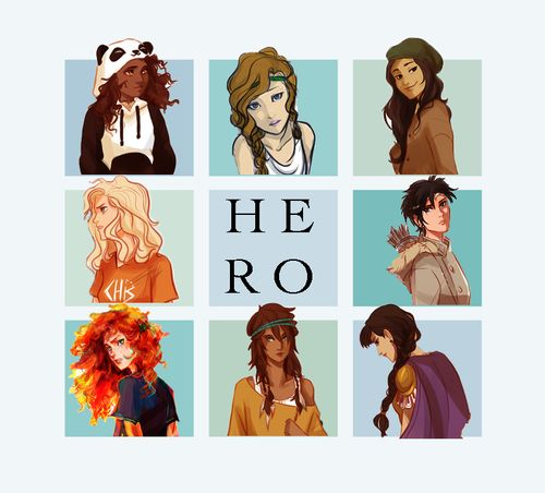 Heroes of Olympus-Art by Viria. <--- however im slightly confused as to why Hazel is wearing panda attire...