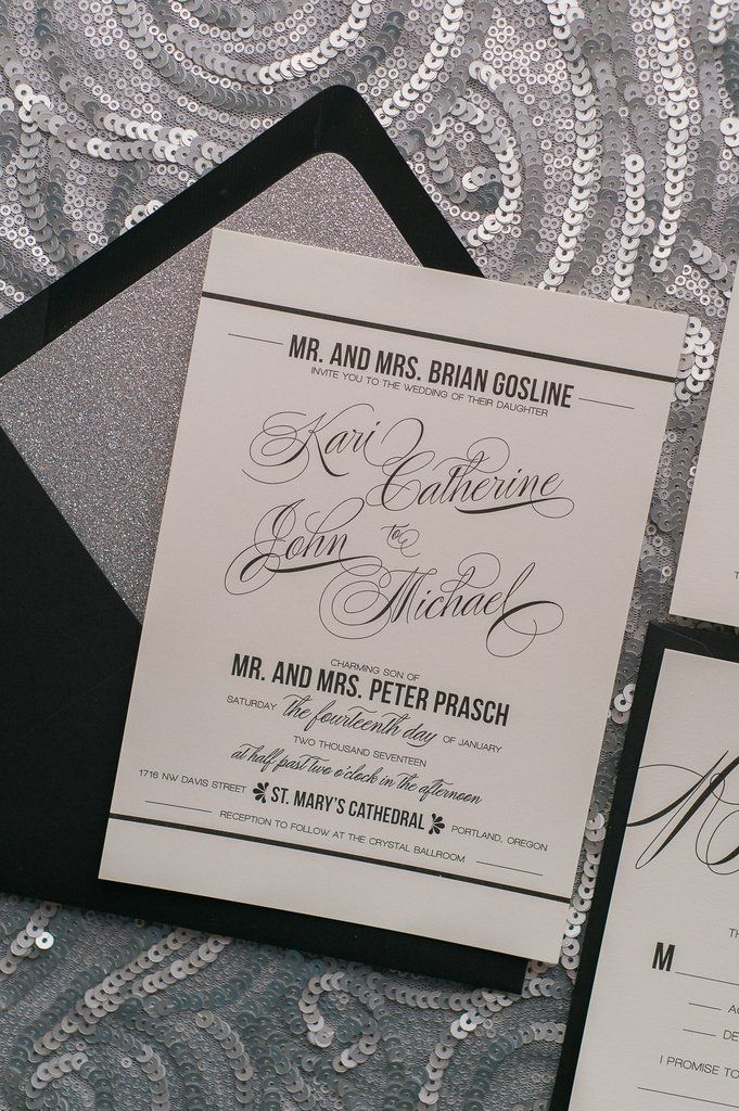 blank wedding invitations%0A Gorgeous Black and Silver Glitter Modern Wedding Invitations by Just Invite  Me