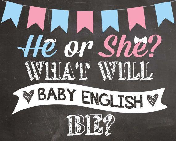 Gender Reveal Chalkboard Pregnancy Announcement by PlayOnWordsArt