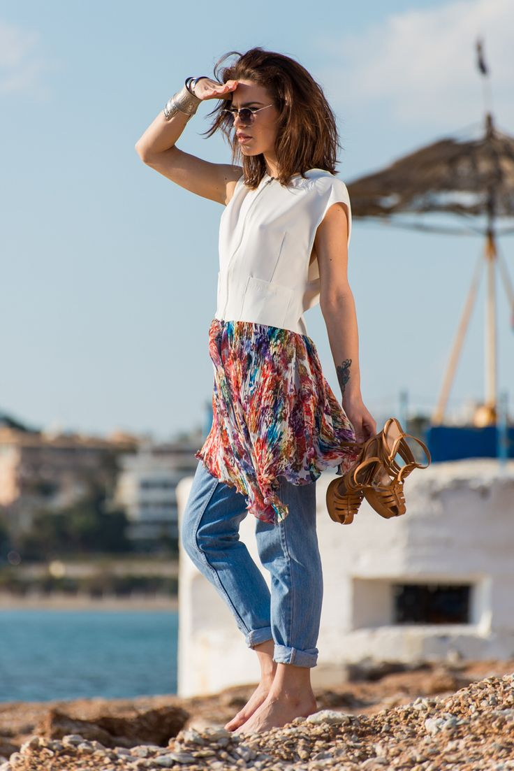 Floral vest , casual ,chic , by nadia rapti , summer fashion