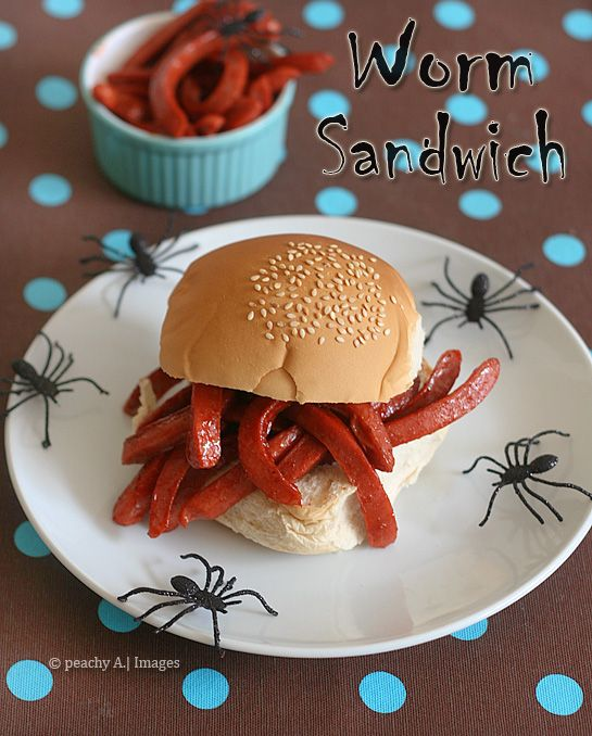 "Halloween ""worm"" Sandwich - cute idea for a kids Halloween party, or just a fun meal at home."
