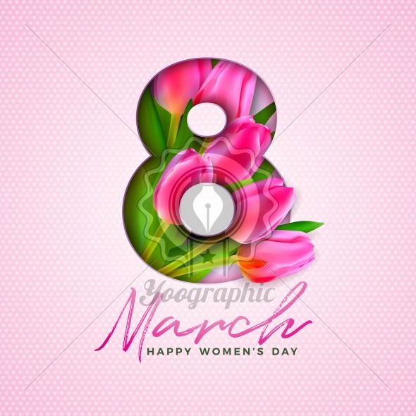 Happy Women's Day Illustration with Tulip Bouquet and 8 March Typography Letter on Pink Background. Vector Spring Flower Design Template for Greeting Card. - Royalty Free Vector Illustration
