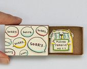 """Sorry """"Please forgive me"""" Card Matchbox / Gretting Card / Gift box / Message box Crying Cat"""