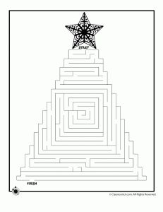 six free printable Christmas-themed mazes