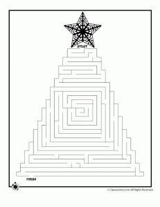 six free printable Christmas-themed mazes