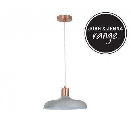 Croft 1 Light Pendant in Brushed Copper/Ash | Josh & Jenna Range | Lighting