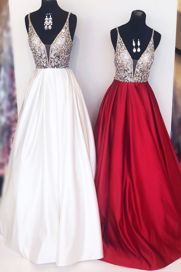 2019 Long Prom Dresses with Top Sequins, White Prom Dresses, Red Elegant Prom Dr …   – Graduation Dresses 2019