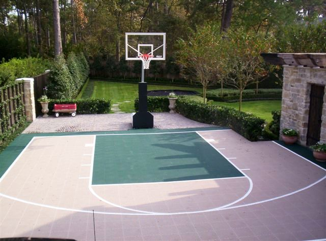 25 best outdoor basketball court ideas on pinterest for Home basketball court cost