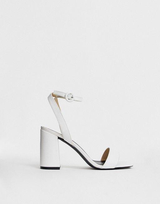 9fc71078eb5 RAID Wink white square toe block heeled sandals in 2019