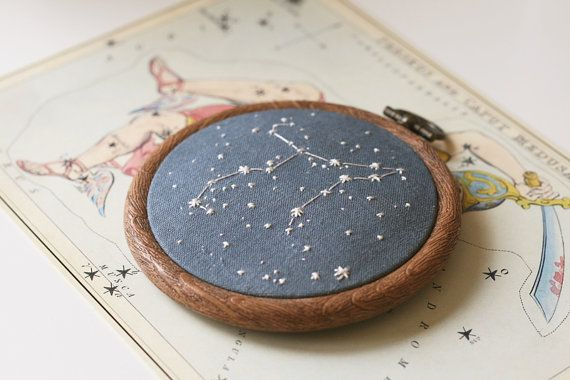 Constellation embroidery commission by ChloeGiordano on Etsy