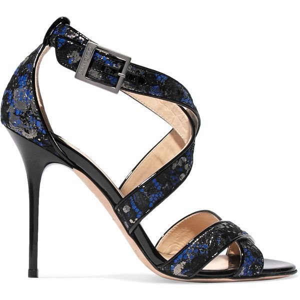 Jimmy Choo - Lottie Suede-trimmed Jacquard Sandals ($340) ❤ liked on Polyvore featuring shoes, sandals, navy, navy strappy sandals, sparkly shoes, high heel sandals, jimmy choo sandals and navy sandals