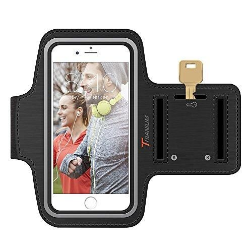 Armband, Trianium iPhone 5S Armband Universal Sport Armband for iPhone 6 5 SE 5C, Galaxy S7 / Galaxy S6 S5 S4 S6 Edge Running Pouch For Workout Touch Compatible + Key Holder - Black