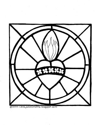 23 best coloring pages images on pinterest catholic for Sacred heart of jesus coloring page