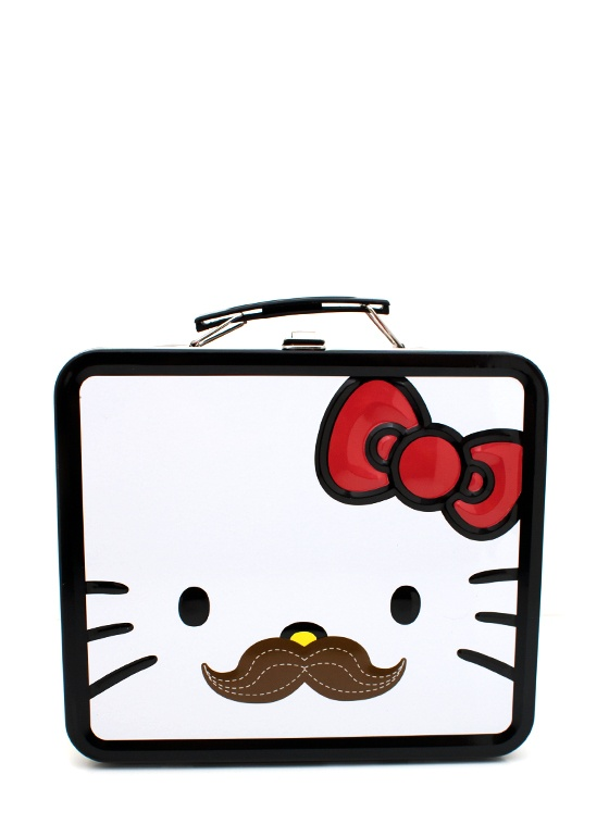hello kitty mustache lunchbox