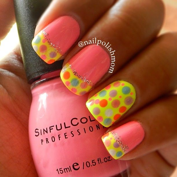 Yellow and pink nails
