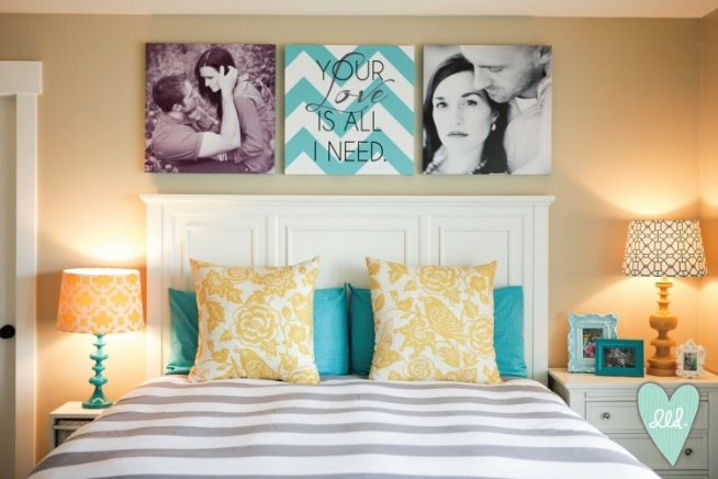 Pictures over headboard with quote in the middle