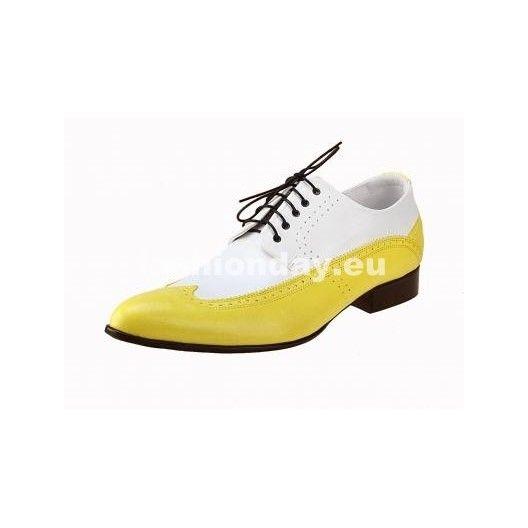 Pánske kožené extravagantné topánky bielo-žlté - fashionday.eu