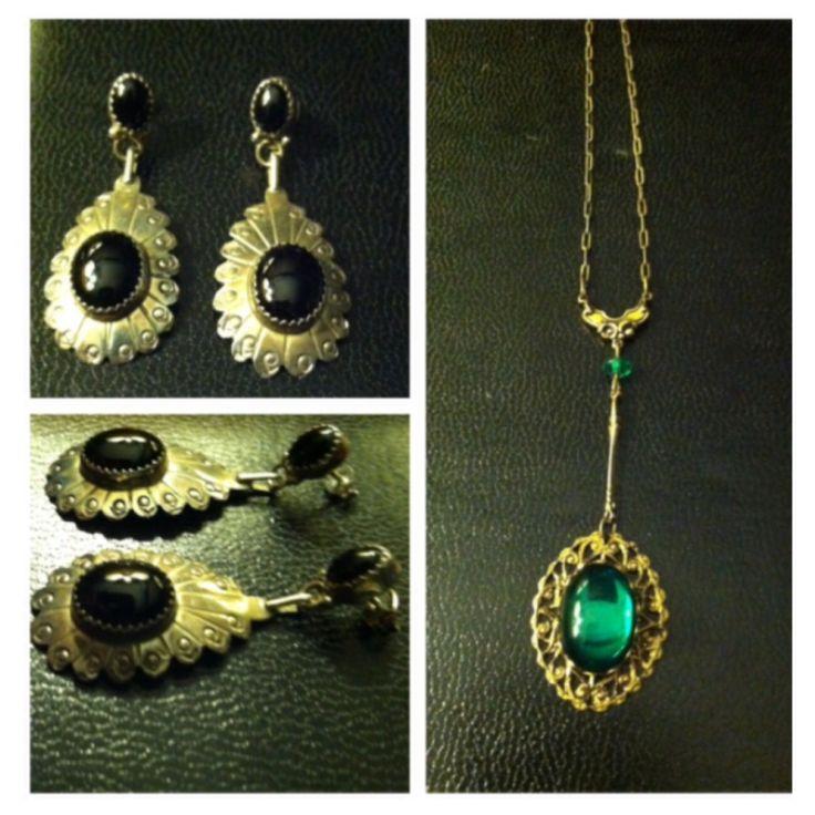 Sterling and onyx earrings.