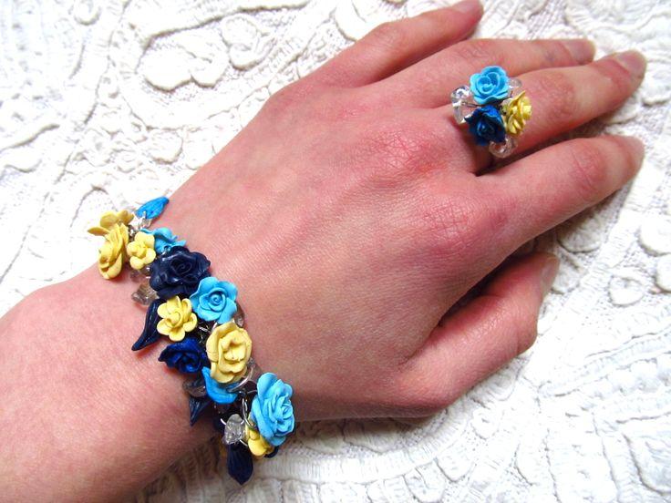 Mineral- rose bracelet and ring set
