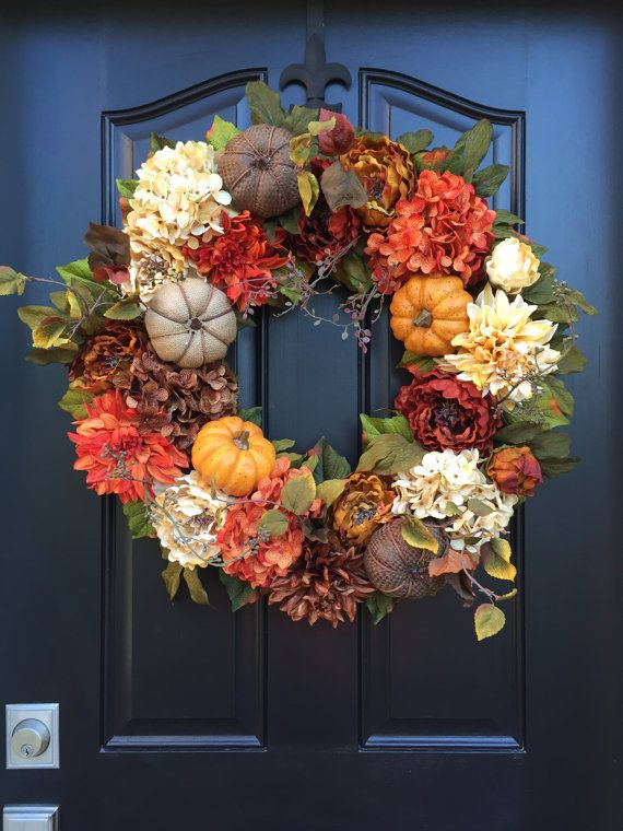 Wreath Large Fall Wreaths Burlap Pumpkin Wreath by twoinspireyou