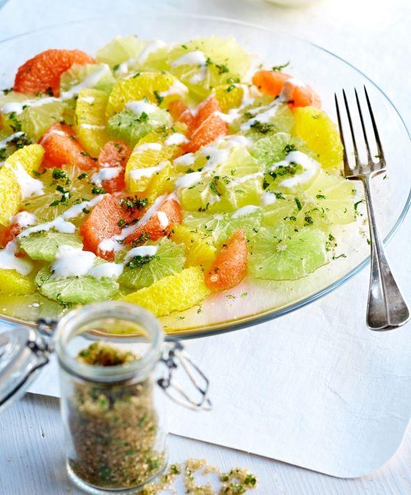 Fresh citrus salad - Sitrussalaatti ja minttusokeria, resepti – Ruoka.fi Kuva/Photo: Seppo Saarentola/Otavamedia