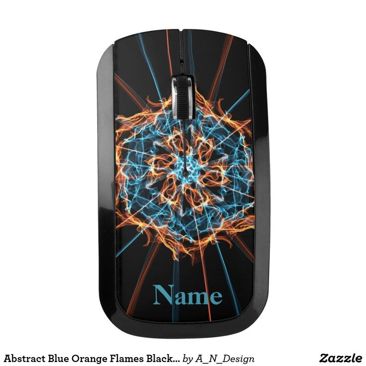 Abstract Blue Orange Flames Black Wireless Mouse