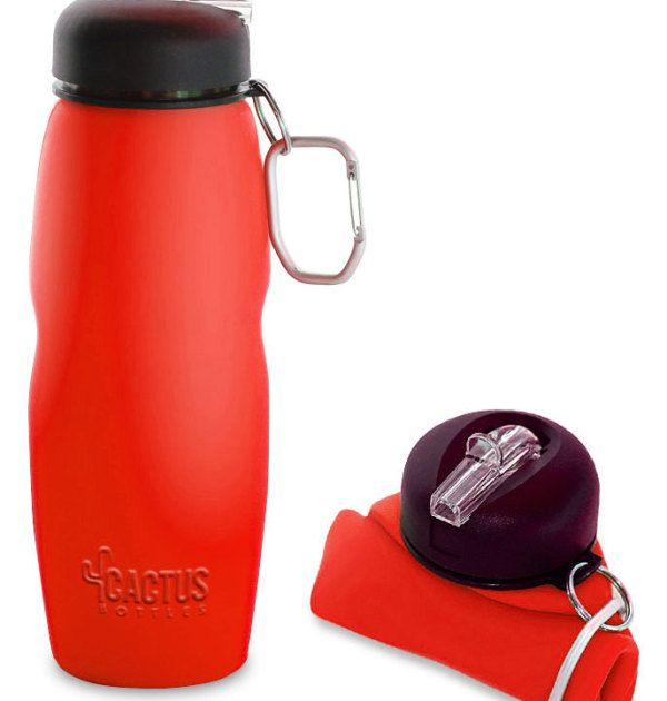 Cactus Bottle – Silicone Collapsible Water Bottle – (red)