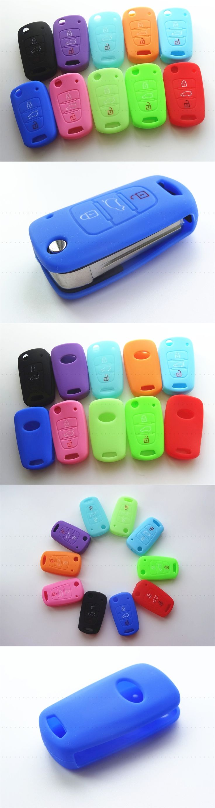 Silicone Key Cover For KIA RIO K2 K5 Sportage Sorento picanto For Hyundai iX20 iX35 Solaris accent Folding Key Silicone Key Case