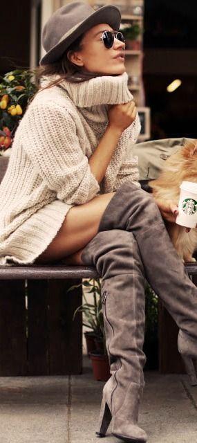 Sweater Dress + OTK Boots ❤︎