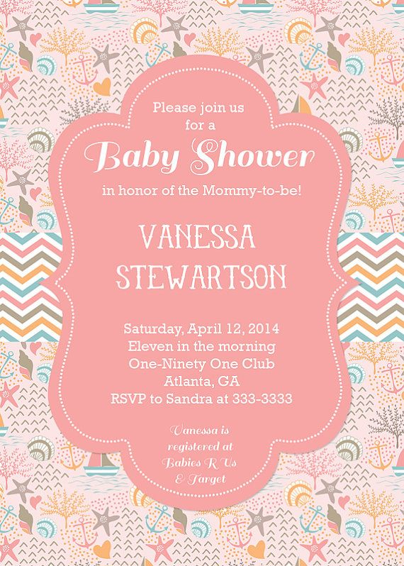 Ocean Baby Shower Invitation Beach Baby Shower by PartyPopInvites