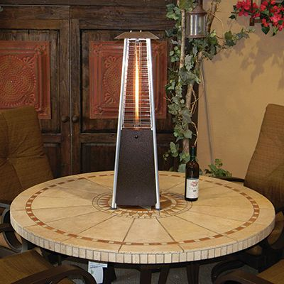 """Bronze Bistro Heater (small) -$189.95- Enjoy cool evenings on your patio with our Bronze Bistro Heaters Late fall and early spring is a great time to be outdoors! Gone are the bugs, molds and pollen of summer to spoil a meal or snack al fresco. The small heater's 11,000 BTUs provide just enough heat to break the chill while being small enough (36"""" tall and 10"""" wide) to fit easily on your patio table. Small Heater utilizes a readily available and refillable 1 lb. propane tank."""