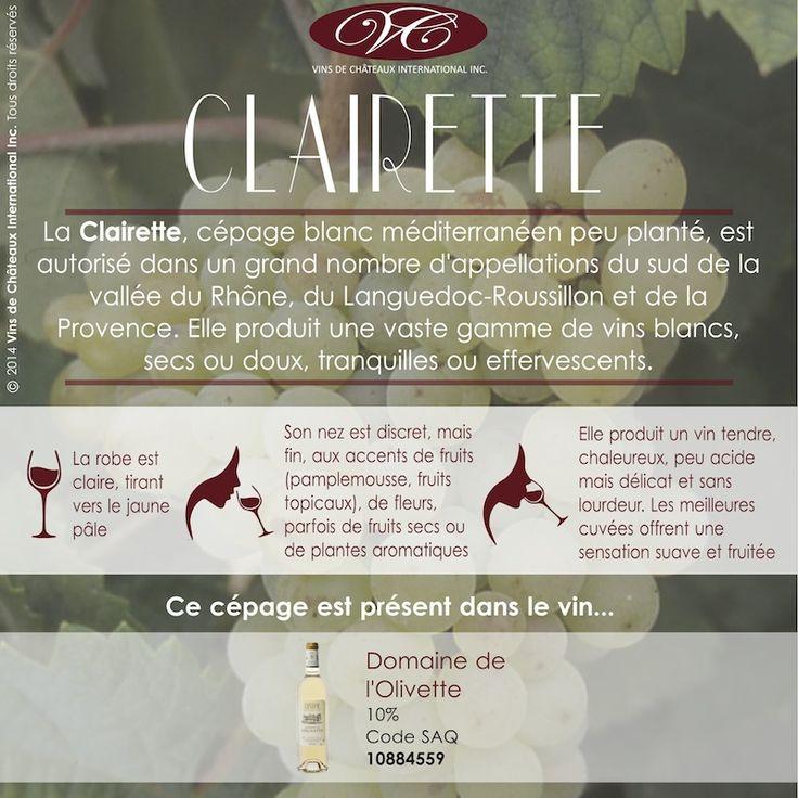 Retrouvez le cépage Clairette dans le vin blanc du Domaine de l'Olivette, vin de Bandol, en Côtes de Provence, présent dans vos SAQ avec le code 10884559, et en ligne http://www.saq.com/page/fr/saqcom/vin-blanc/domaine-de-lolivette-2012/10884559