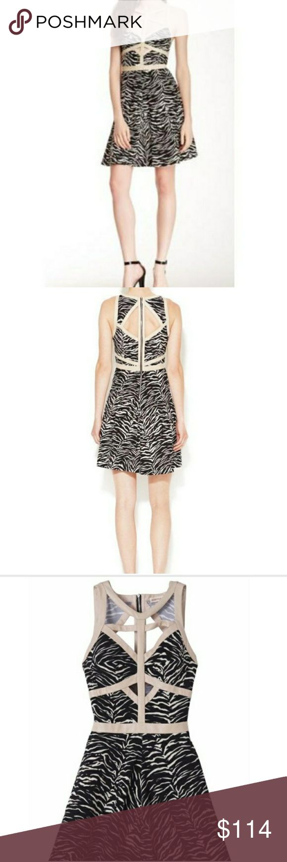 "Rebecca Taylor Leather Trimmed Cage Dress Order by noon Wednesday the 27th to receive by New Years Eve.   Fabulous black and white animal print dress is trimmed with contrasting leather that is a beige/pale pink tint. Cage neckline, open back, screams cool""! Reasonable offers are welcome!  Find more brand new designer clothes at 30-70% off at www.thecuratedcloset.net Use code POSH20 for 20% off at checkout on Curated Closet website Rebecca Taylor Dresses"