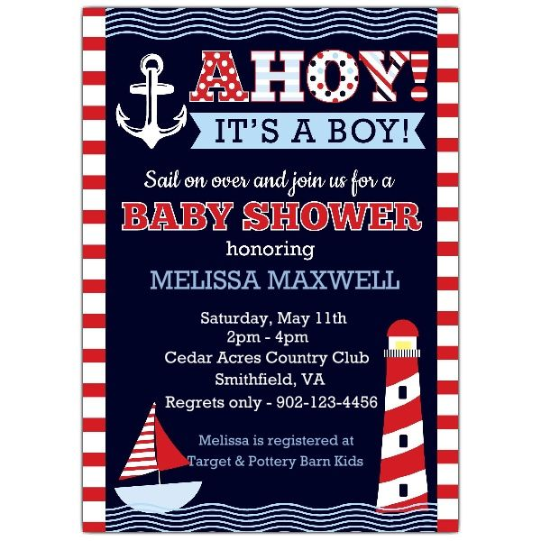 Nautical+Stripe+Baby+Boy+Shower+Invitations