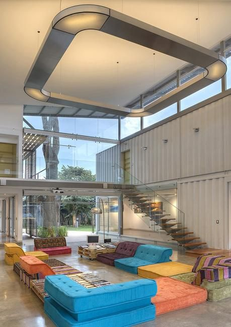 This modern house design is from Costa Rica. Large, bright and spacious modern house is designed and built of eight empty shipping containers, which provide a great building material which significantly reduces the cost of architectural designs and offer Green building solutions. Lushome presents th