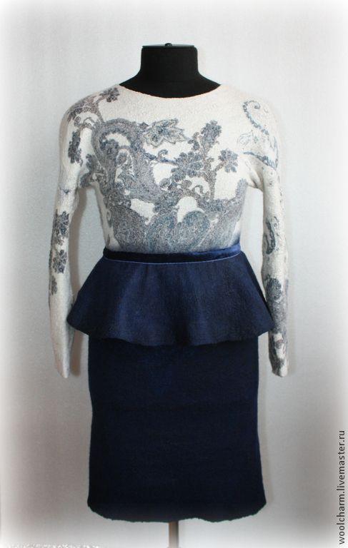 Купить Платье валяное В стиле пейсли - тёмно-синий, пейсли, платье валяное