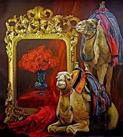 I cammelli e l'arte, oil on canvas, 230x200cm, by Silvana Pasini