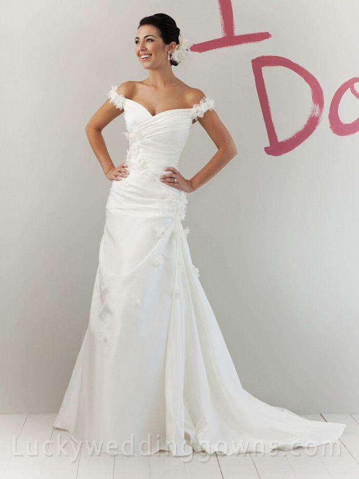 Off-the-shoulder Amazing Taffeta Summer Wedding Dress with Silk Flowers http://www.luckyweddinggown.com/offtheshoulder-amazing-taffeta-summer-wedding-dress-with-silk-flowers-p-36.html