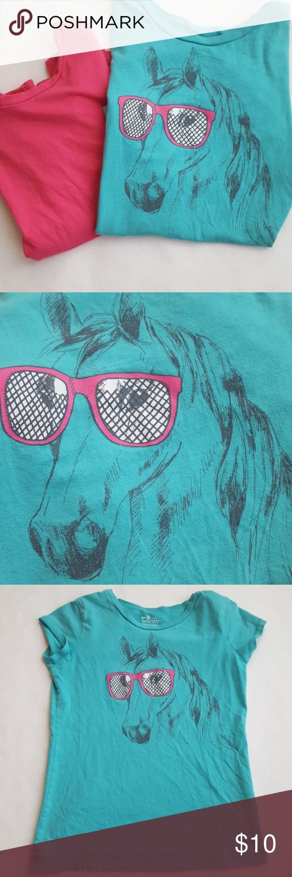 Old Navy Teal Horse TShirt and Pink TShirt Two tshirts ready for fun.  Old Navy Size Large (10/12)   teal shirt with a horse wearing pink sunglasses. Also get a solid pink Large (10-12)  faded glory t-shirt to match! Used condition Old Navy Shirts & Tops Tees - Short Sleeve