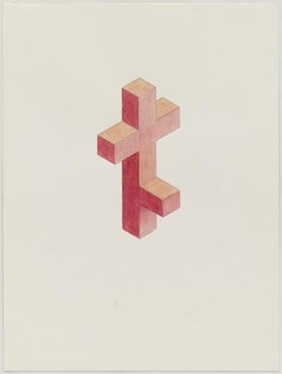 """Red Cross Way  Iran do Espírito Santo (Brazilian, born 1963)    1990. Watercolor, colored pencil, and pencil on paper, 12 5/8 x 9 3/8"""" (32.1 x 23.8 cm). Purchase. © 2013 Iran do Espírito Santo  2413.2001"""