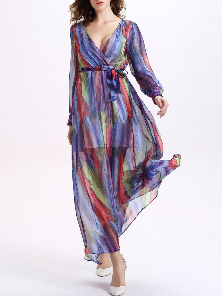 #AdoreWe #StyleWe CICI WANG Ombre/Tie-Dye Boho Plunging Neck Maxi Dress with Belt - AdoreWe.com