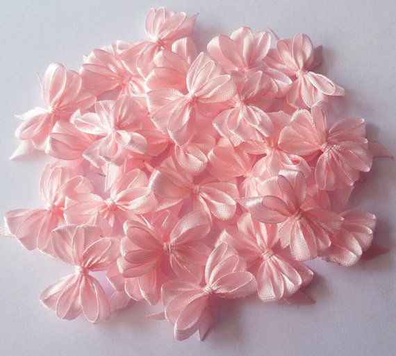 Handmade satin bows baby pink applique bows pink by Rocreanique on Etsy