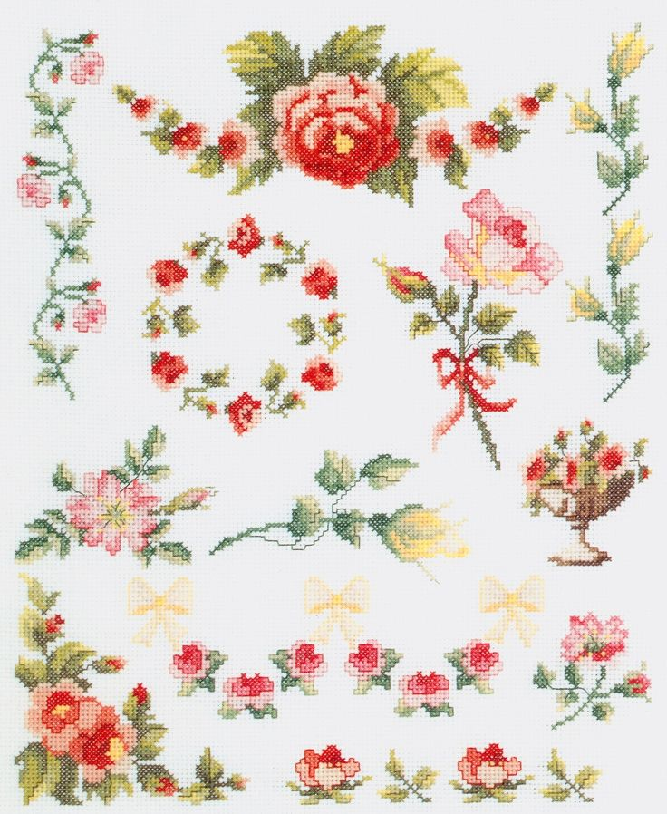 Rose Sampler free cross stitch pattern from www.coatscraft.pl