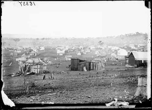 View of Gulgong Gold Fields from Church Hill, 1872. - Photo Credit: Beaufoy Merlin / Charles Bayliss