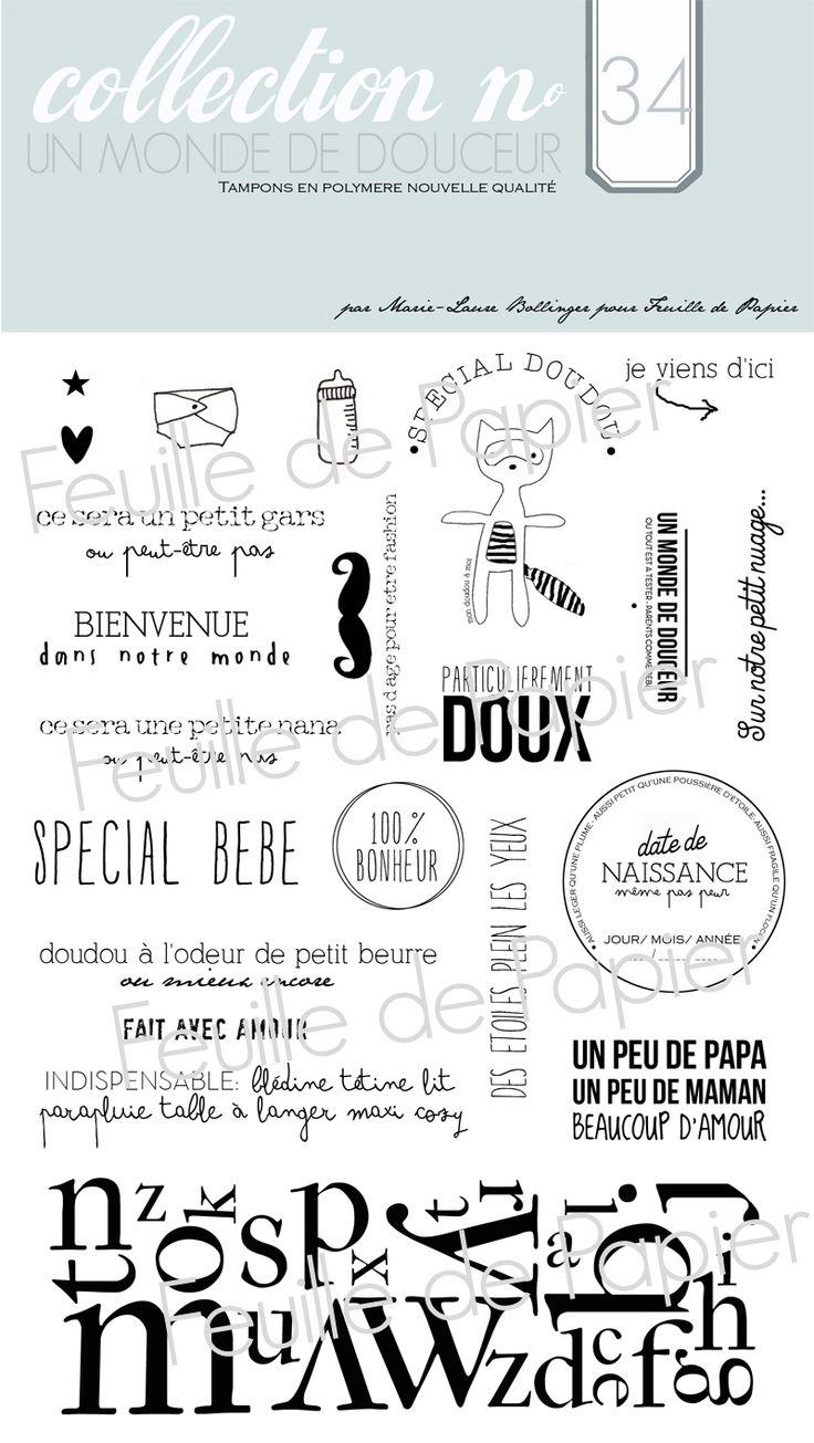 MATERIEL > Tampons > Marie-Laure Bollinger pour Feuille de papier > Collection N° 34 Un monde de douceur - Feuille de papier - Kits en ligne...