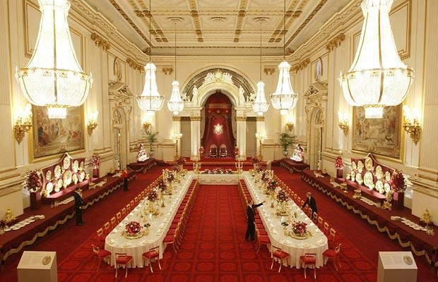 The Ballroom at Buckingham Palace is set up for a State Banquet